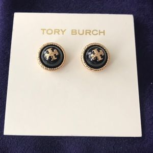 New authentic Tory Burch rope logo stud earrings
